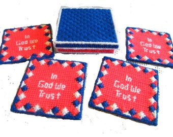 Patriotic Coasters, In God We Trust, Red, White, and Blue