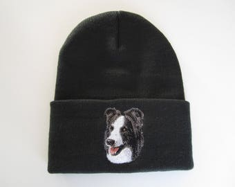 Border Collie Embroidered Beanie
