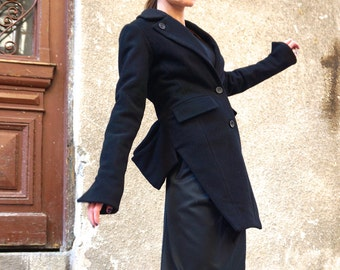 Asymmetric Extravagant Black Cashmere Wool Coat / High Quality Buttoned  Jacket by AAKASHA A07181