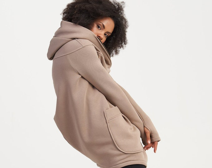 NEW Lined Warm Asymmetric Extravagant Cappuccino Hooded Coat / Quilted Lined Cotton Jacket / Thumb Holes / Outside and Inside pockets A07177