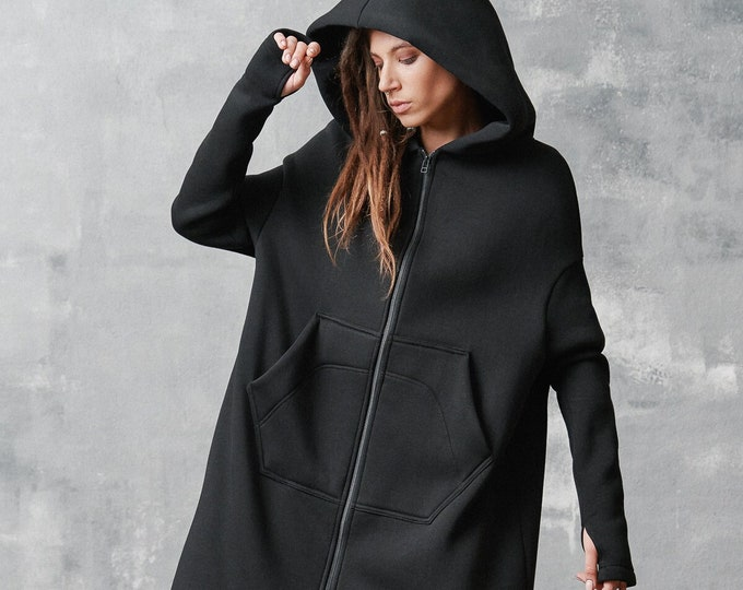 Extra Long Zippered Hoodie A92041