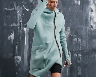 Lined Asymmetric  Hooded Coat A07177