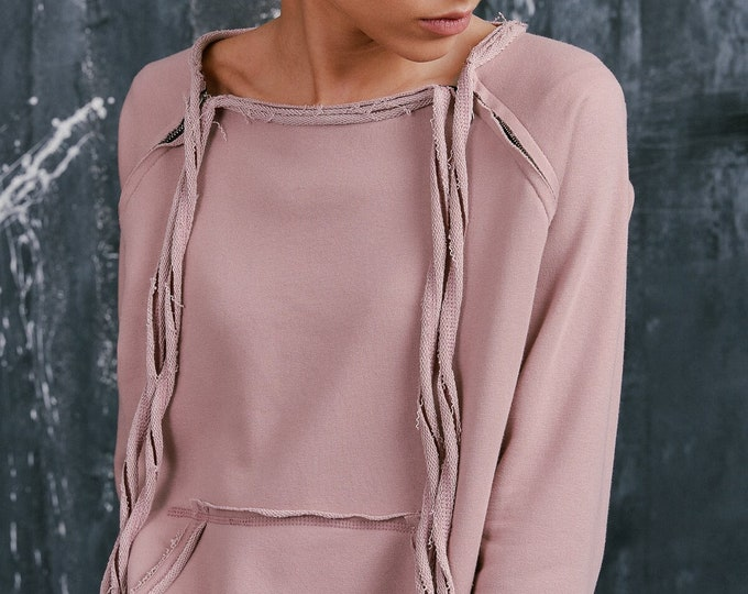 NEW Spring Ash Rose Extravagant  Asymmetric Cotton Sweatshirt /Thumb holes sexy zipper on shoulders / Front Pocket  by AAKASHA A08310