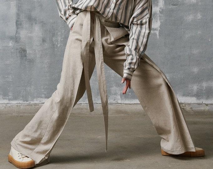 NEW Loose Linen Pants / Wide Leg Pants /Extravagant Trousers Side Pockets / Belt and wide elastic waistline /HandMade by Aakasha