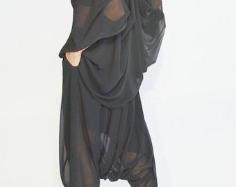 NEW  Loose   Black Chiffon  adjustable Shirt  / Extravagant Black sheer tunic handmade  by AAKASHA A90588