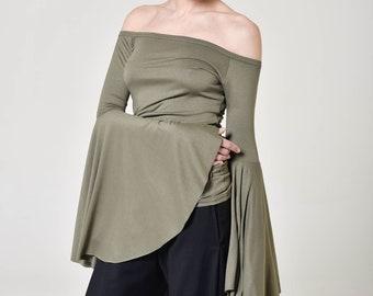 Flared Sleeves Elegant Blouse A12787