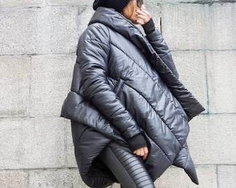 NEW Winter Extra Warm Asymmetric Extravagant Black Hooded Coat / Waterproof Windproof Quilted with Side Pockets   by Aakasha A07550