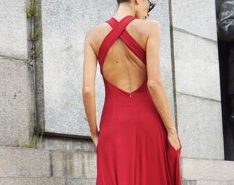 NEW Hot Red  Maxi Dress Kaftan Viscose Dress / Sexy Open Bag  Dress / Extravagant Long  Dress / Party Dress  by AAKASHA A03414