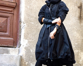 NEW Collection Black  Zipper Hooded Raincoat / Spring Blazer / Extravagant Trench with Eco Leather  Belt / Maxi Coat  by Aakasha A07372