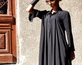 Sexy Soft Hot Black Maxi Loose Shirt / Asymmetric shirt / Oversize New Collection  top by AAKASHAA A11164