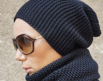 NEW Slouchy Woman's Black Warm Knit Hat / All Knit Warm Extravagant Hat by AAKASHA A24365