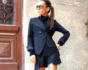 New Black  Stylish Blazer / New Autumn Coat /Black Cold Wool coat/ Extravagant Asymmetrical Buttoned Blazer by Aakasha A10311