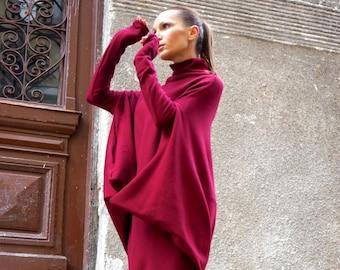 NEW Oversize Burgundy Loose Casual Top / Asymmetric Raglan Long Sleeves Tunic Knit Dress / Maxi Blouse Turtle neck Tunic A02058