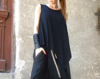 6709b04edeba00 NEW Summer Black Loose Back Tank Top / Soft Casual Sport Wear / Extravagant  Top by AAKASHA A04465