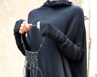 NEW Oversize Wool Black Loose Dress / Asymmetric Raglan Extra Long Sleeves Tunic / Fully Knit Top / Maxi Blouse Turtle neck Top A02201