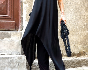 NEW Black Loose  Maxi Tank  Top /  Soft Asymmetric Casual  Wear /  Maxi Dress / Extravagant Tunic Top A04275