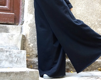 NEW Collection Black Cotton Wide Leg Maxi Jumpsuit /Extravagant Jumpsuit / Long Sleeves Thumb Holes with side pockets by AAKASHA A19517