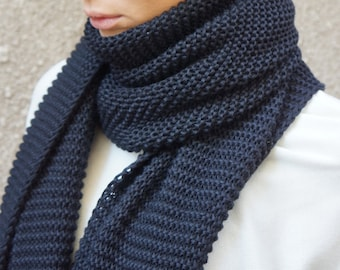NEW Black  Warm Extra Long Shawl / All Knit Warm Extravagant Scarf by AAKASHA A13364