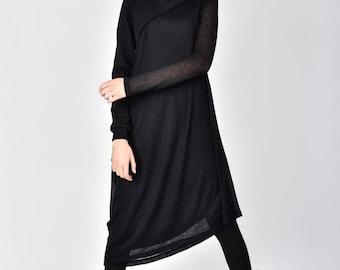 Long Sleeve Mixed Fabric dress / Cotton Maxi Tunic / Asymmetric Flatering Dress by AAKASHA A03778