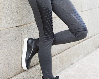 NEW COLLECTION Grey Extra Long Leggings / Genuine Black Leather Front  / Viscose Exclusive Fabric HandMade  by Aakasha A05125