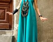 Hot Summer Maxi Dress Pine Green Linen Dress One Shoulder Kaftan Dress Extravagant Long Dress Party Dress by AAKASHA A03144