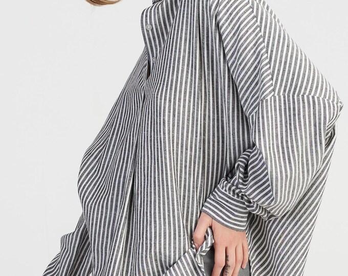 Linen Navy  Stripes Shirt