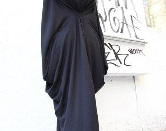 Black Asymmetric Maxi Dress / Loose Extra Long Sleeve Kaftan A03105