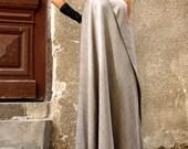 New Maxi Dress Melange Beige Kaftan Spun Rayon Dress One Shoulder Dress Extravagant Long Dress Party Dress by AAKASHA A03380