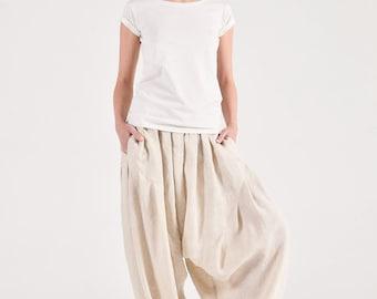 Elegant linen harem pants A90501