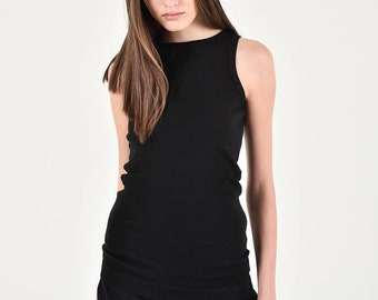 New Aakasha Basic regular Fit Black Tank Top / High front neckline ribbed cotton top A04742