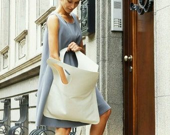 NEW Genuine Leather Light  Ivory White  Bag / High Quality  Tote Asymmetrical Tote  Bag by AAKASHA A14478