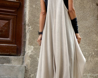 Spring Loose Natural Beige Fully Knit vest Top Exclusive Soft light Fabric  / Extravagant Asymmetric Tunic  Top  by AAKASHA A02225