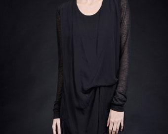 69e0fa0bc32 Very Elegant Asymmetric Long Sleeve Blouse / Sexy Asymmetrical Tunic  HandMade by AAKASHA A90433