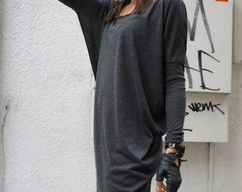 Sexy Casual Top / Grey Soft Fabris / Loose Tunic A01060