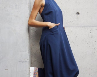 NEW Collection Sexy Navy Polyviscose  Drop Crotch Jumpsuit / Party Extravagant Loose Jumpsuit  Extravagant Back by AAKASHA A19349