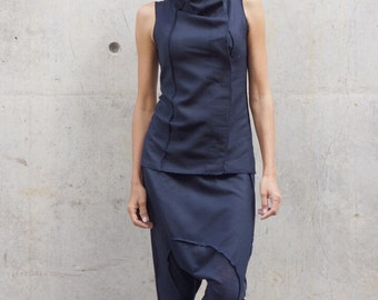 NEW  Loose Casual  Navy Drop Crotch Linen Knit Harem Pants / Extravagant Black Pants by AAKASHA A05167