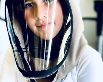 Fully Closed Hooded Kids Shiled , Hooded Face Shield, Anti Fog Child, Face Hood Mask, Protective Face Wear, Zipper Shield by Aakasha A40960