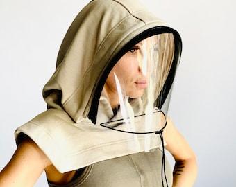 Shield Mask,Face Shield Reusable, Hooded Face Shield, Face Mask Adults, Face Hood Mask, Protective Face Wear, Zipper Shield by Aakasha
