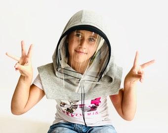 Shield Kids Mask,Face Shield Reusable, Hooded Face Shield, Anti Fog Child, Face Hood Mask, Protective Face Wear, Zipper Shield by Aakasha