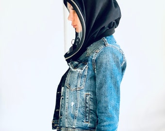 Fully Zipper Polycarbonate Hood Shield , Face protective Shield , 10 ml Anti-fog Spray included , Cotton Loose Hood by Aakasha