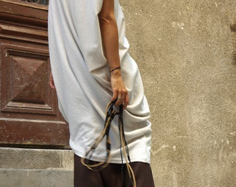 Sexy Summer Ivory Loose Kaftan / Asymmetric Sleeveless Tunic  Top / Maxi Blouse Ribbed Soft Cotton A02138