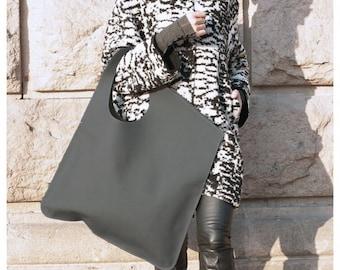 NEW Genuine Leather Matt Grey Bag / High Quality  Tote Asymmetrical  Large Bag by AAKASHA A14552