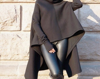 Black Extravagant Top, Fleece Cotton Warm sweatshirt, Extra high collar pullover, Asymmetrical Top, Thumb holes with pockets, Aakasha A08590