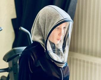 Fully Closed Shield ,Polycarbonate Hooded Shield, Face protective Shield , 10 ml Anti-fog Spray included , Cotton Loose Hood by Aakasha