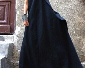 Maxi Dress / Black Kaftan Linen Dress / One Shoulder Dress / Extravagant Long  Dress / Party Dress / Daywear Dress A03144