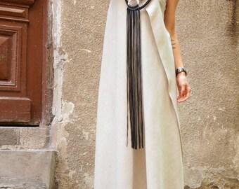 Maxi Dress / Natural  Linen Kaftan  Dress / One Shoulder Dress / Extravagant Long  Dress / Party Dress  by AAKASHA A03144