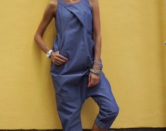 NEW Collection SS Sexy Denim Drop Crotch Jumpsuit / Extravagant Summer Loose Jumpsuit / Casual Daywear with pockets  by AAKASHA A19430