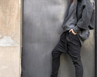 NEW COLLECTION Charcoal  Drop Crotch  Pants / Extravagant Dark Grey  Trousers by Aakasha A05114