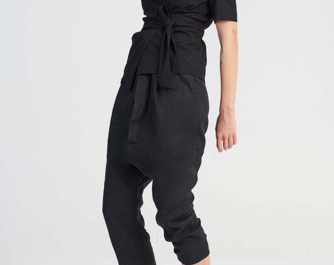 Linen Suit with Fastening Belts