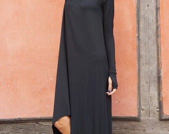 NEW Fall Black Loose Maxi Long Sleeves Top /Soft Asymmetric Casual  Wear /Maxi Dress with Thumb Holes / Extravagant Tunic Top A03535
